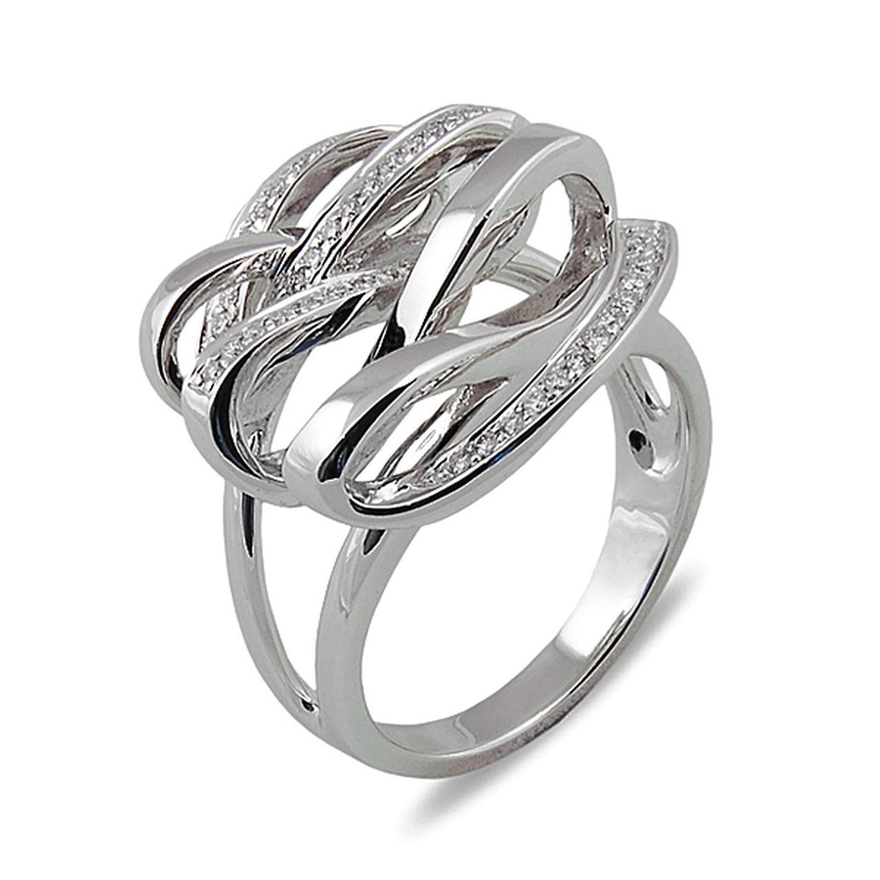 Золотое кольцо с бриллиантами, размер 17 (000100)