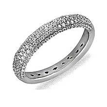 Серебряное кольцо с куб. циркониями, размер 17 (073483)