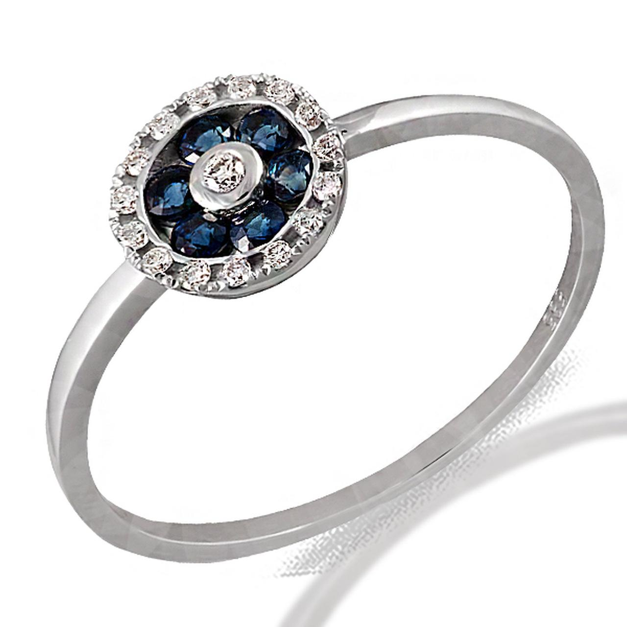 Золотое кольцо с бриллиантами и сапфирами, размер 16.5 (056628)