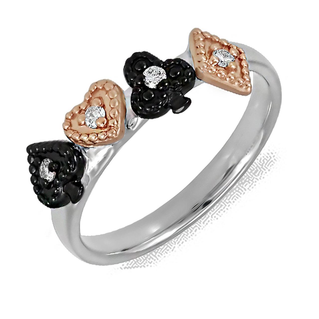 Золотое кольцо с бриллиантами, размер 17.5 (166068)