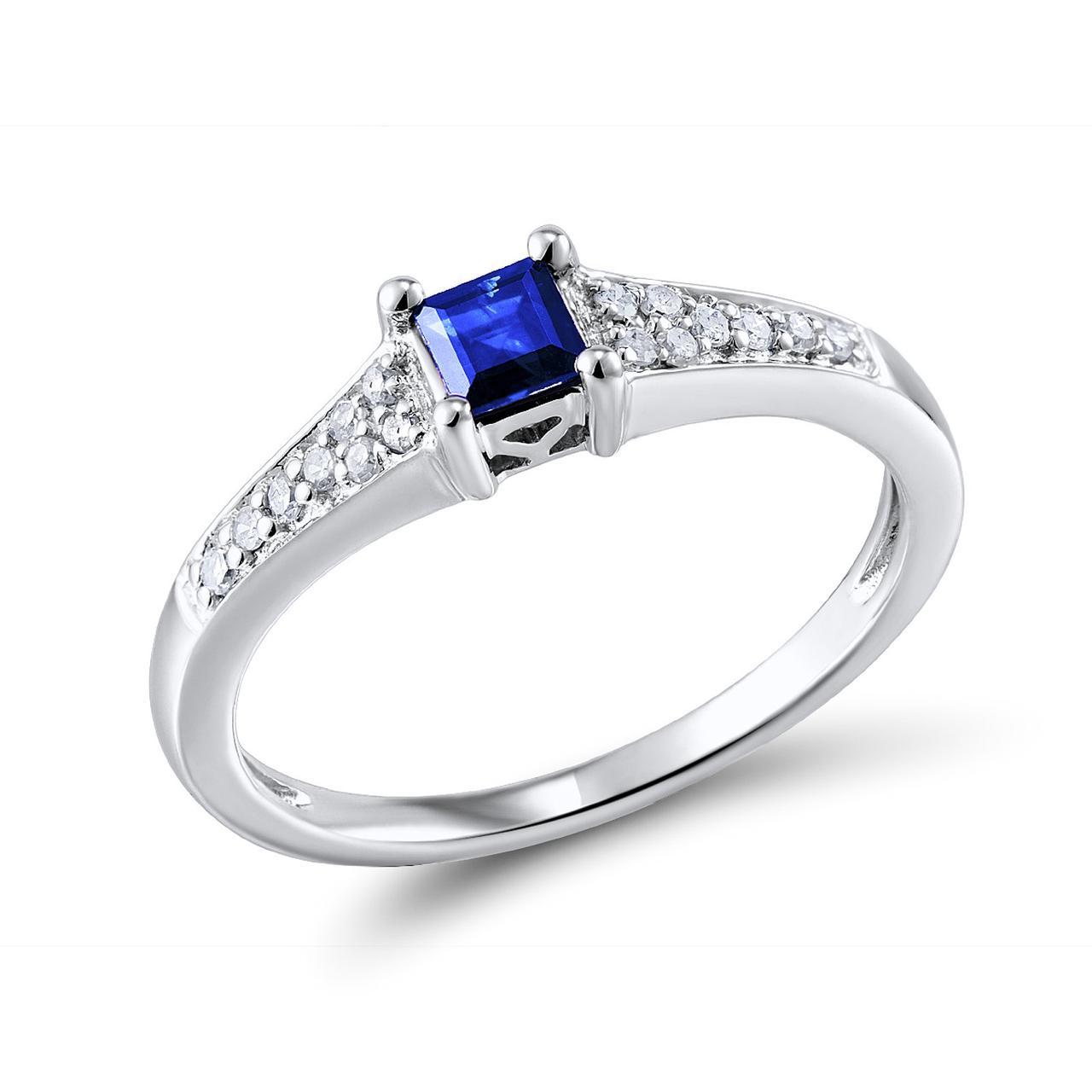 Золотое кольцо с бриллиантами и сапфиром, размер 15.5 (210387)