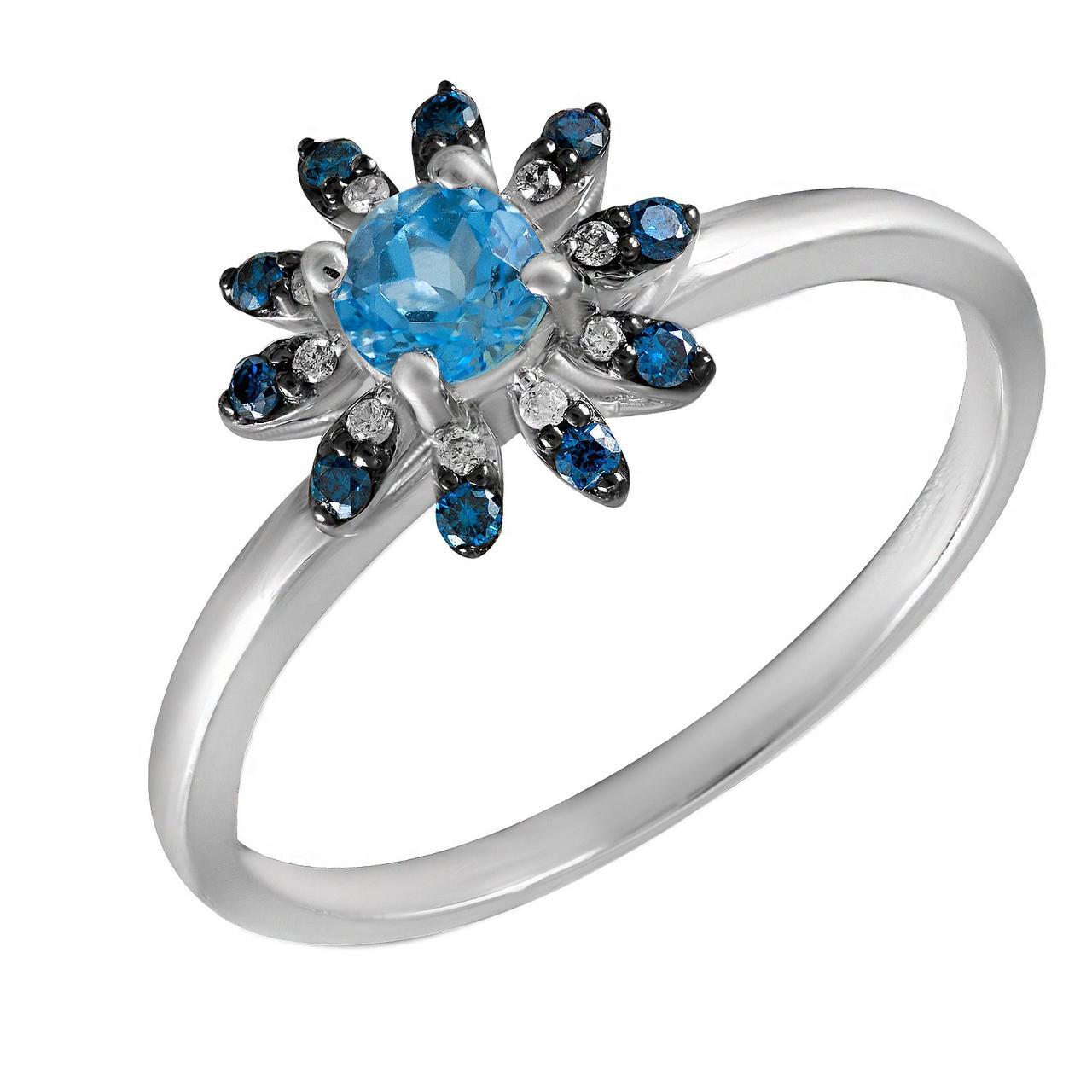 Золотое кольцо с бриллиантами и топазом, размер 16.5 (695978)