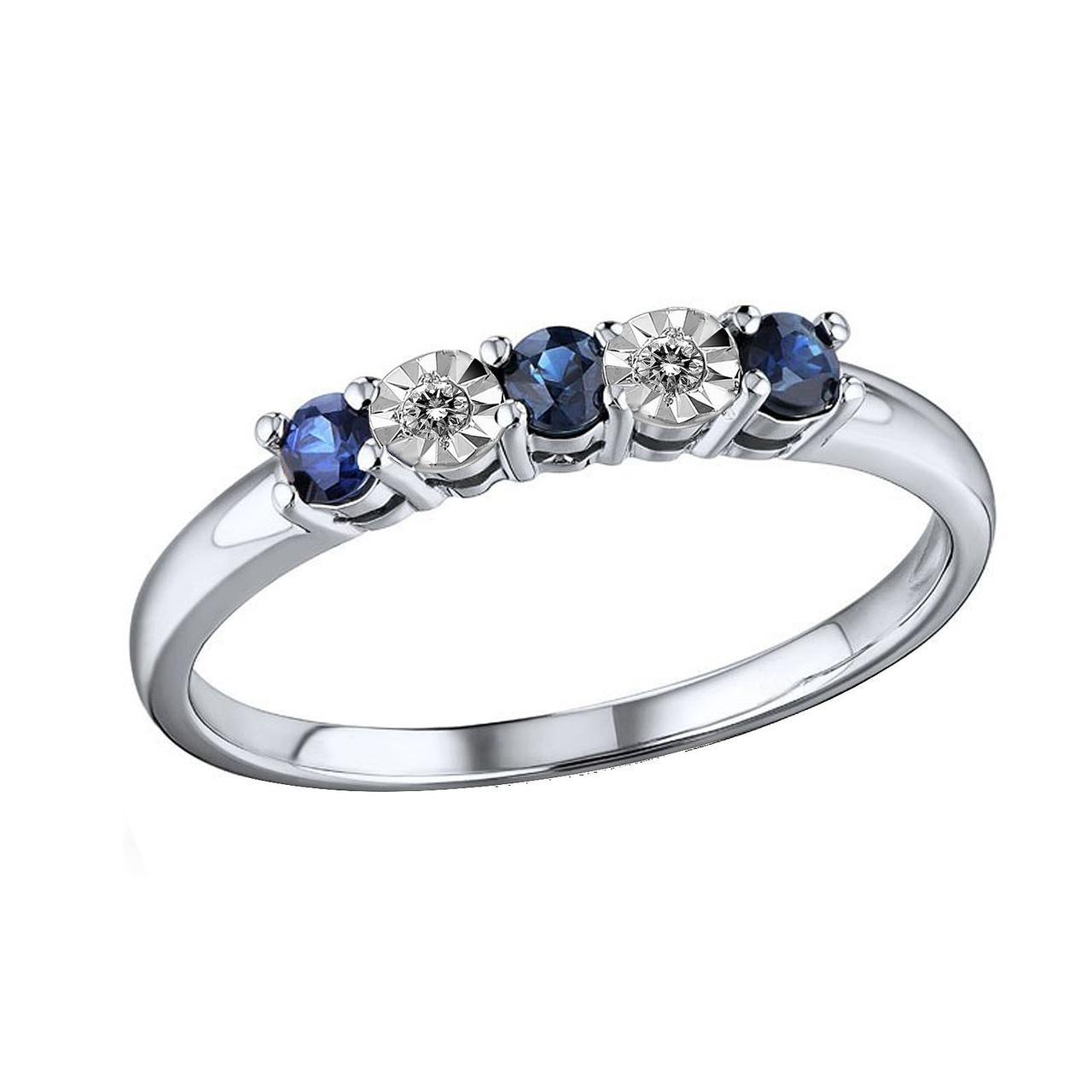 Золотое кольцо с бриллиантами и сапфирами, размер 15 (445909)