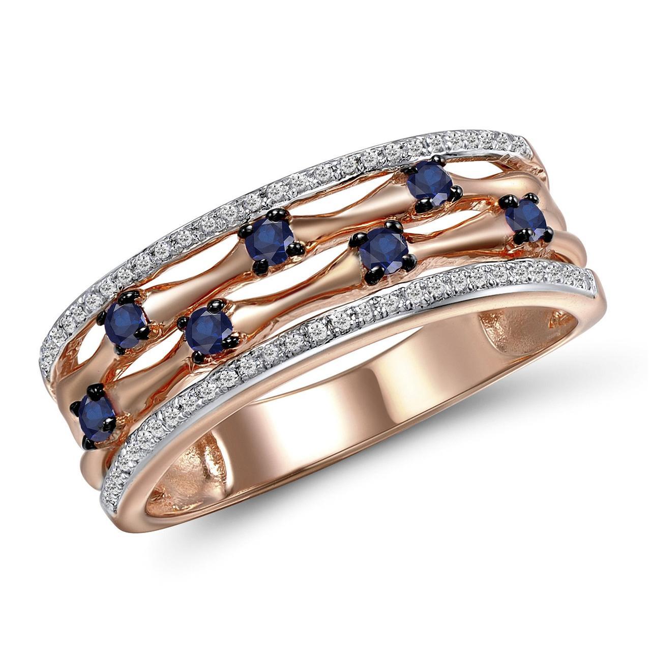 Золотое кольцо с бриллиантами и сапфирами, размер 16.5 (1687066)