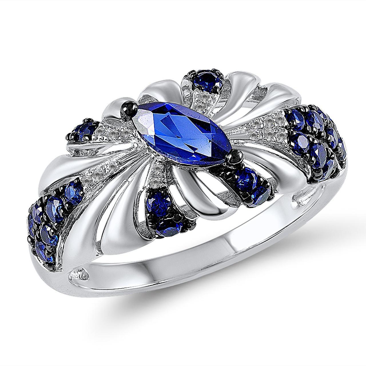 Золотое кольцо с бриллиантами и сапфирами, размер 16 (210397)