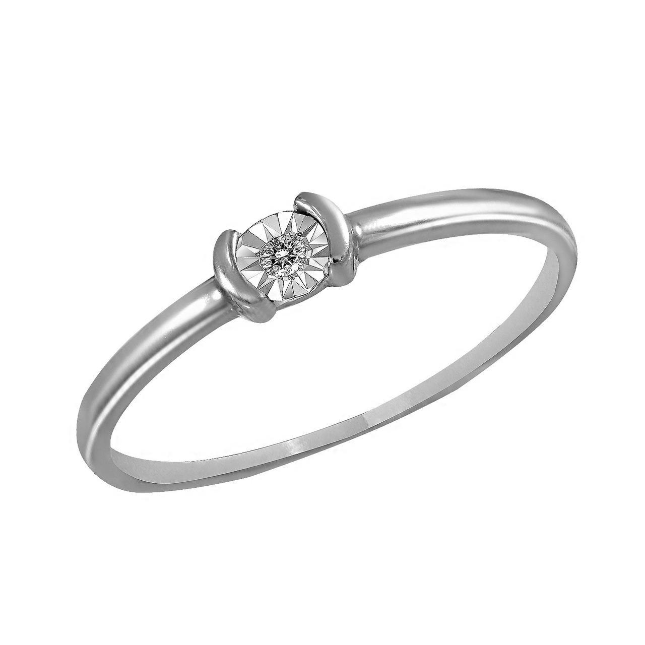 Золотое кольцо с бриллиантом, размер 16 (019405)