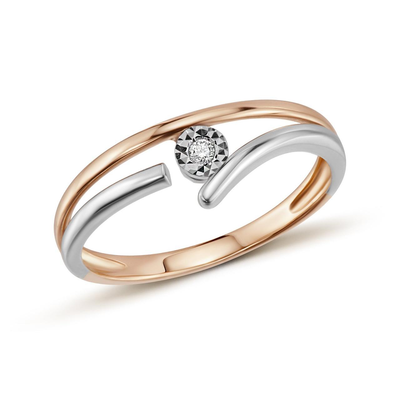 Золотое кольцо с бриллиантом, размер 19.5 (446300)