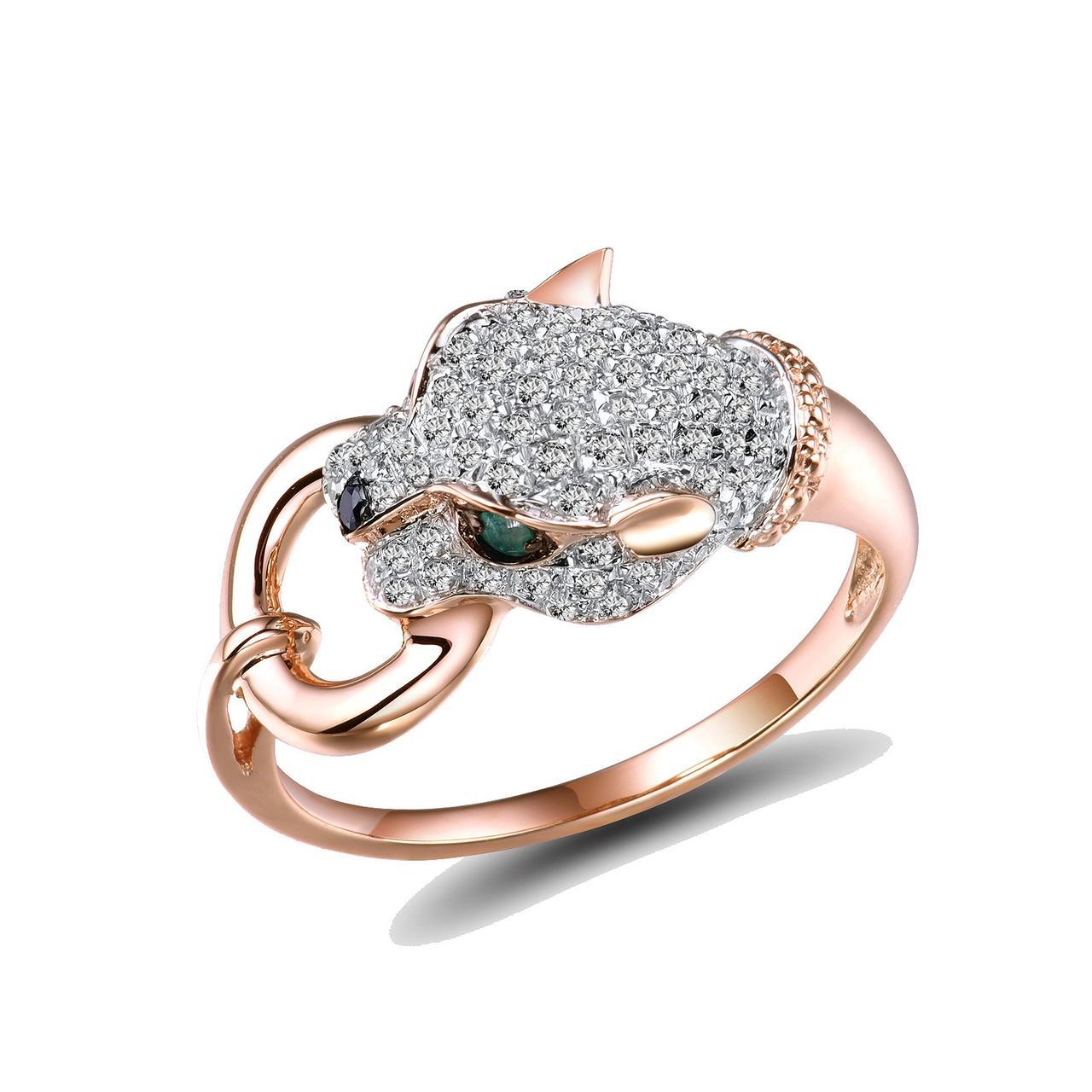Золотое кольцо с бриллиантами и изумрудами, размер 16.5 (1551724)