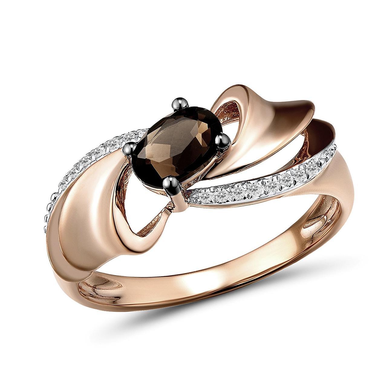 Золотое кольцо с бриллиантами и дымчатым кварцем, размер 16 (1554783)