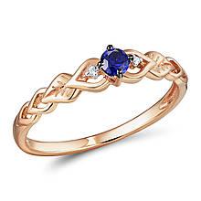 Золотое кольцо с бриллиантами и сапфиром, размер 16.5 (565161)