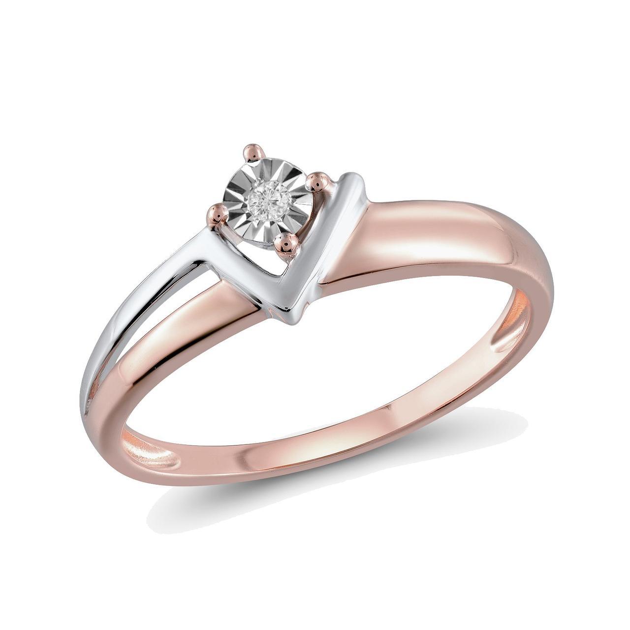 Золотое кольцо с бриллиантом, размер 17 (348592)