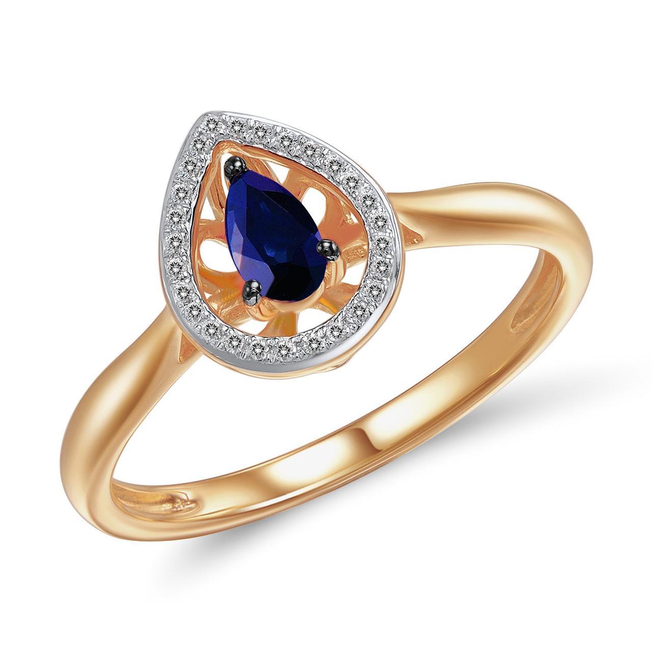 Золотое кольцо с бриллиантами и сапфиром, размер 16.5 (562800)