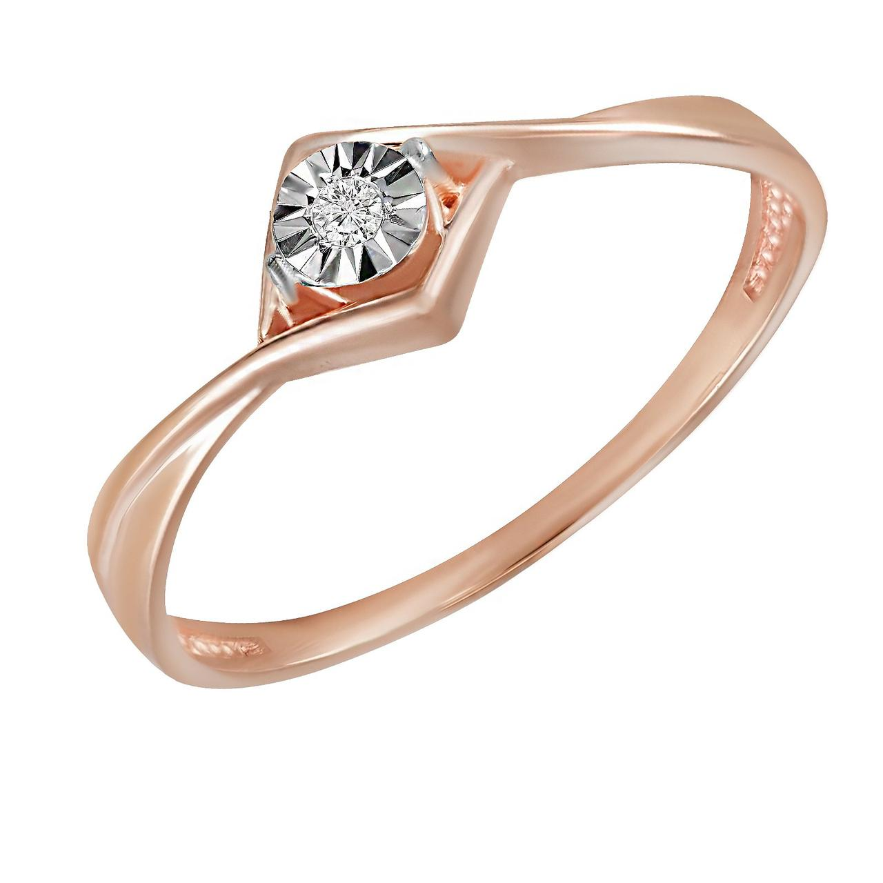 Золотое кольцо с бриллиантом, размер 15.5 (582785)