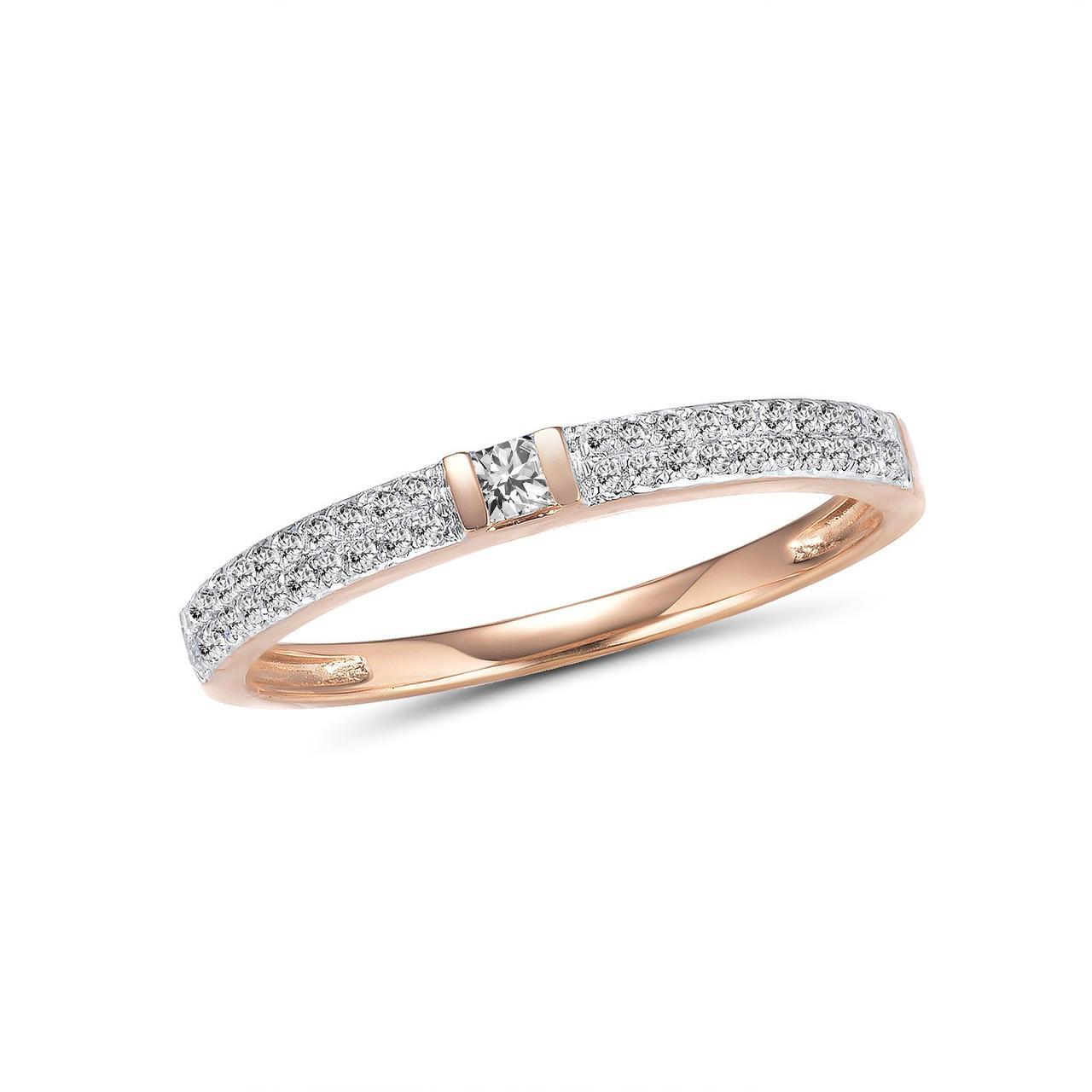 Золотое кольцо с бриллиантами, размер 16.5 (1692553)