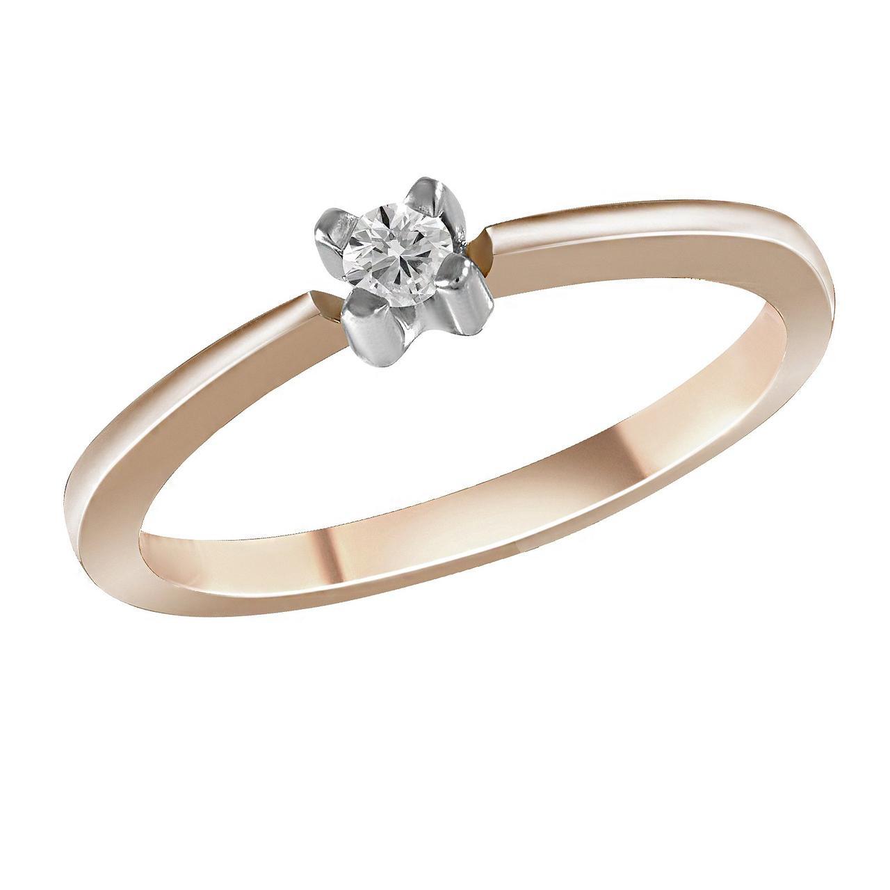 Золотое кольцо с бриллиантом, размер 17 (1606714)
