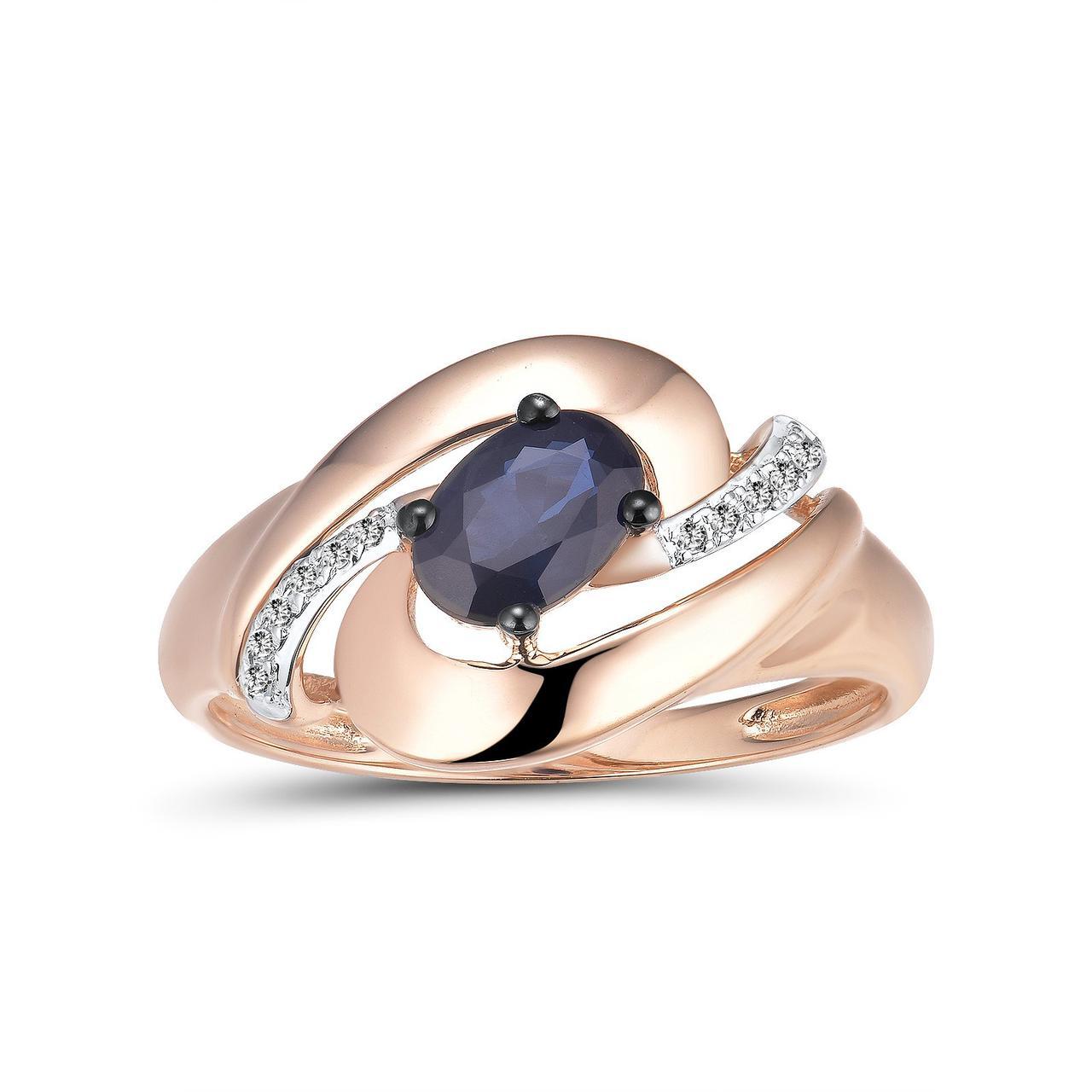 Золотое кольцо с бриллиантами и сапфиром, размер 16 (1692436)