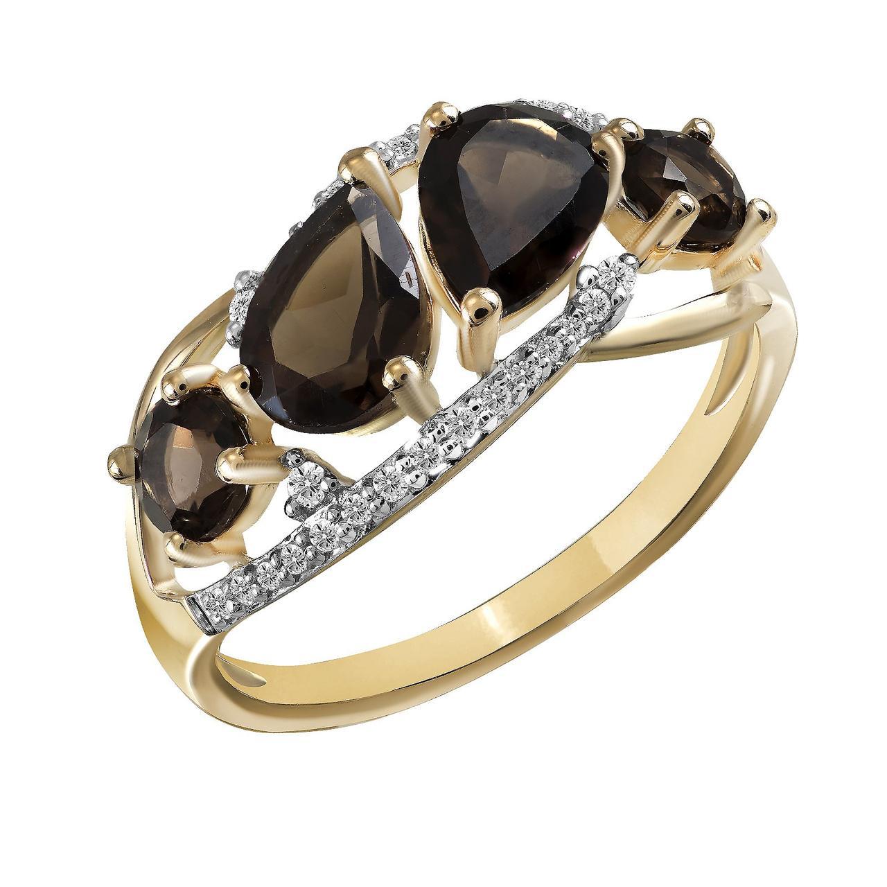 Золотое кольцо с бриллиантами и кварцем, размер 16.5 (825138)