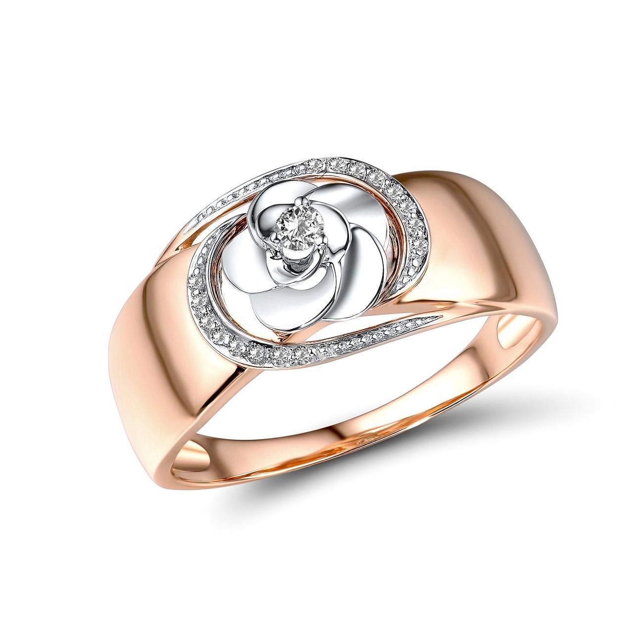 Золотое кольцо с бриллиантами, размер 18 (1719054)