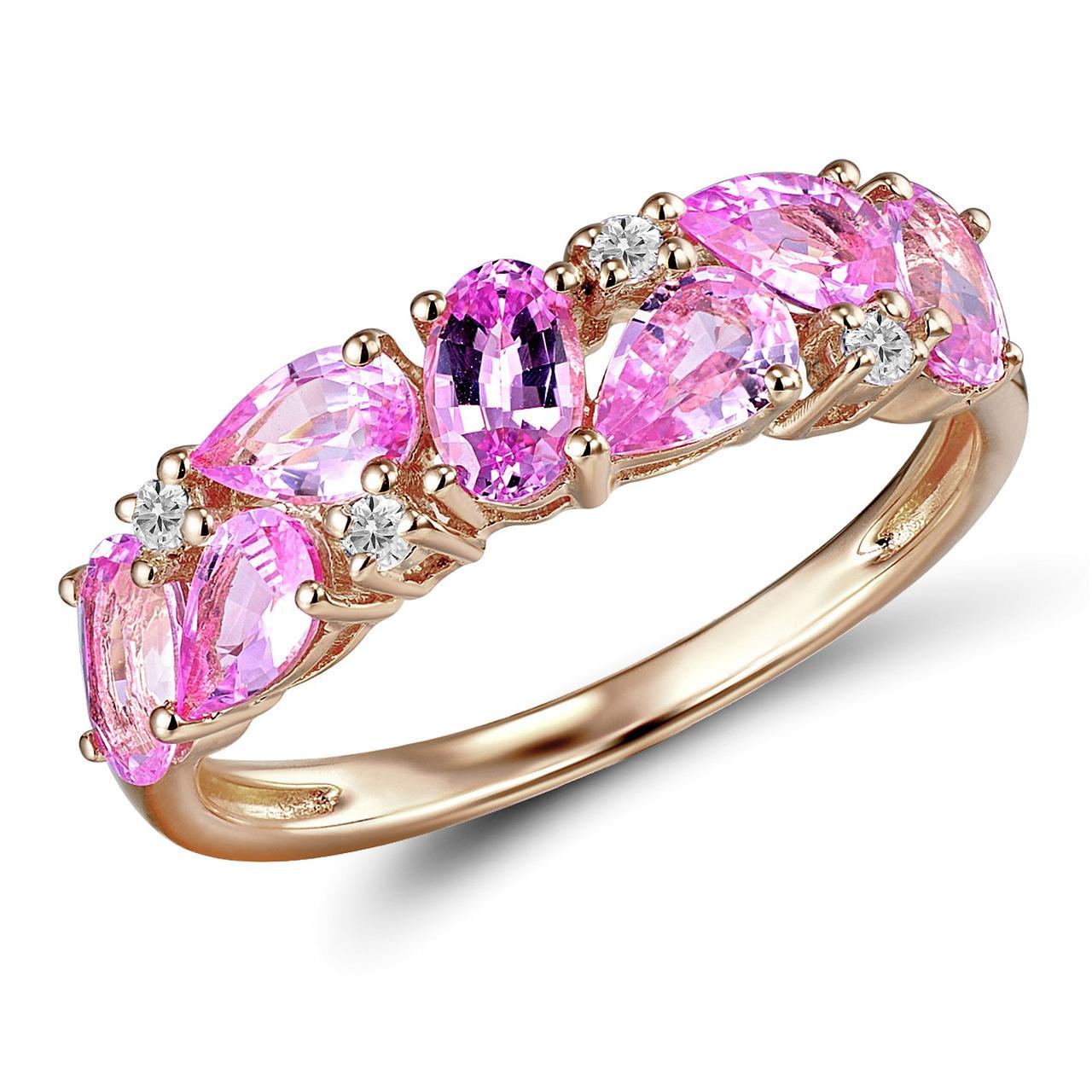 Золотое кольцо с бриллиантами и сапфирами, размер 16 (1603752)