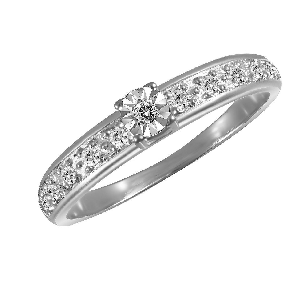 Золотое кольцо с бриллиантами, размер 15.5 (019409)