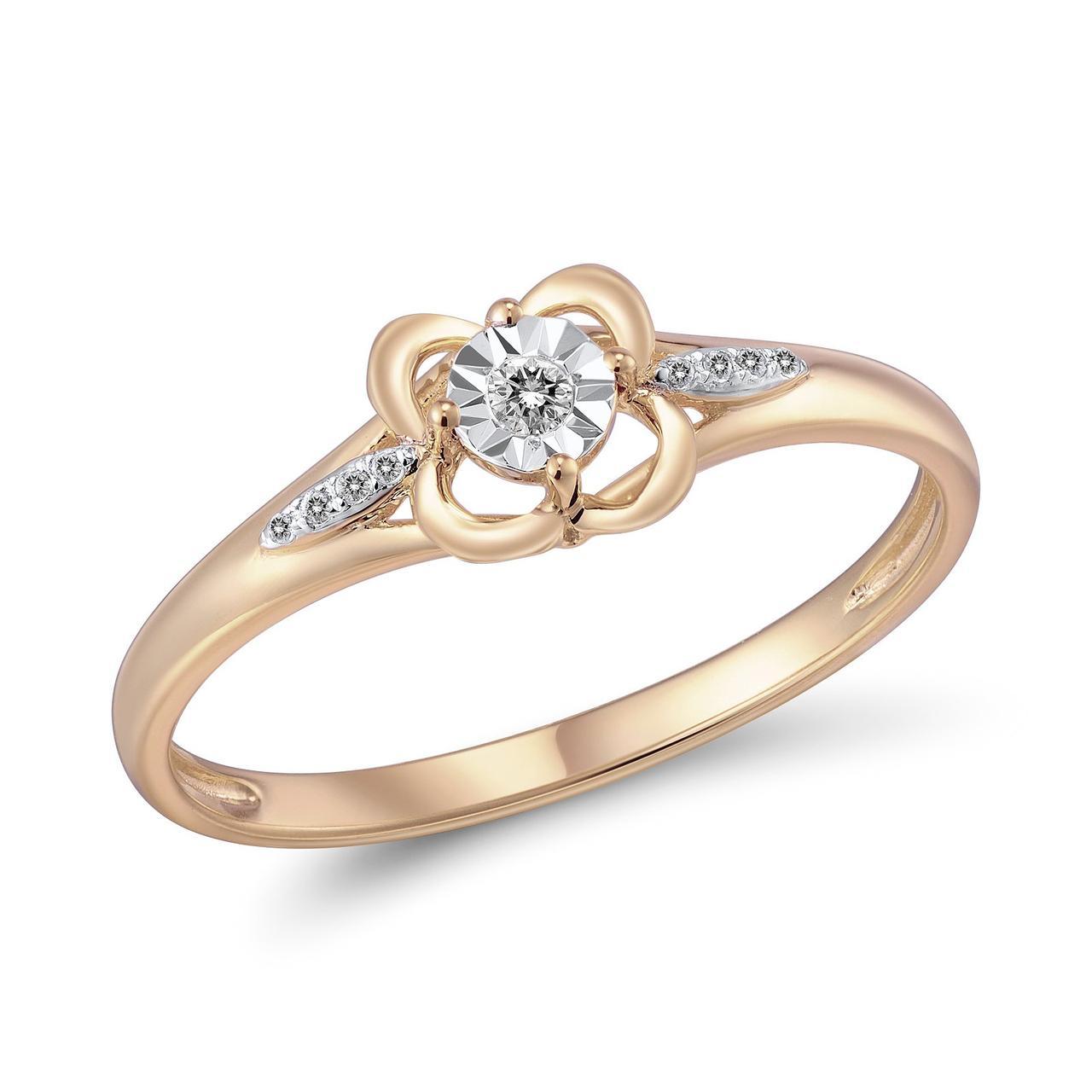 Золотое кольцо с бриллиантами, размер 17.5 (562971)