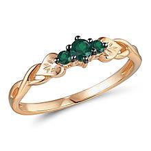 Золотое кольцо с изумрудами, размер 17 (565149)