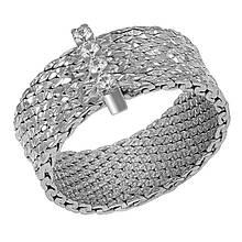 Серебряное кольцо с куб. циркониями, размер 17 (1530929)