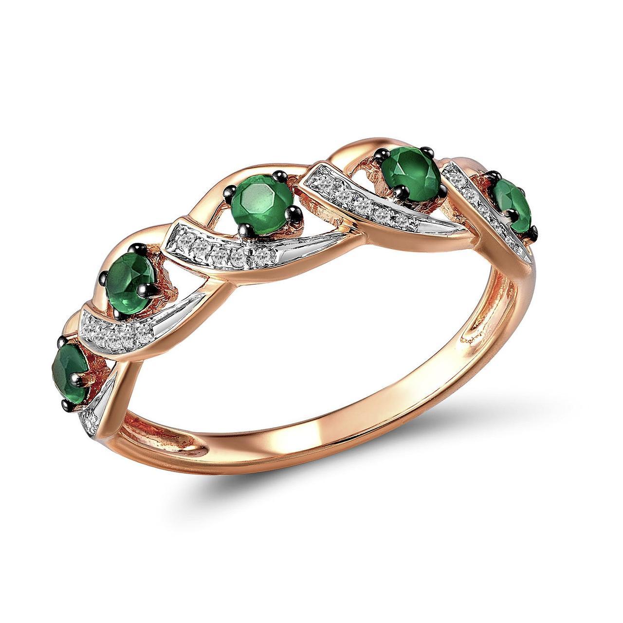 Золотое кольцо с бриллиантами и изумрудами, размер 16.5 (1603719)