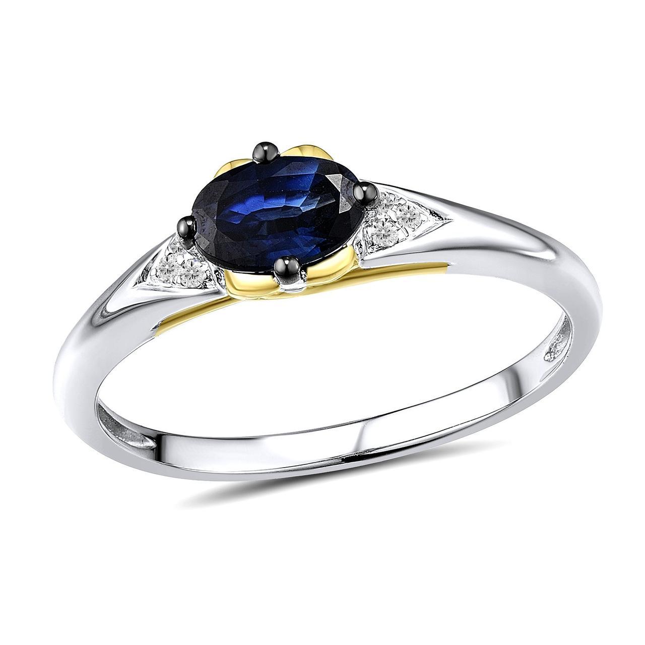 Золотое кольцо с бриллиантами и сапфиром, размер 17 (1645320)