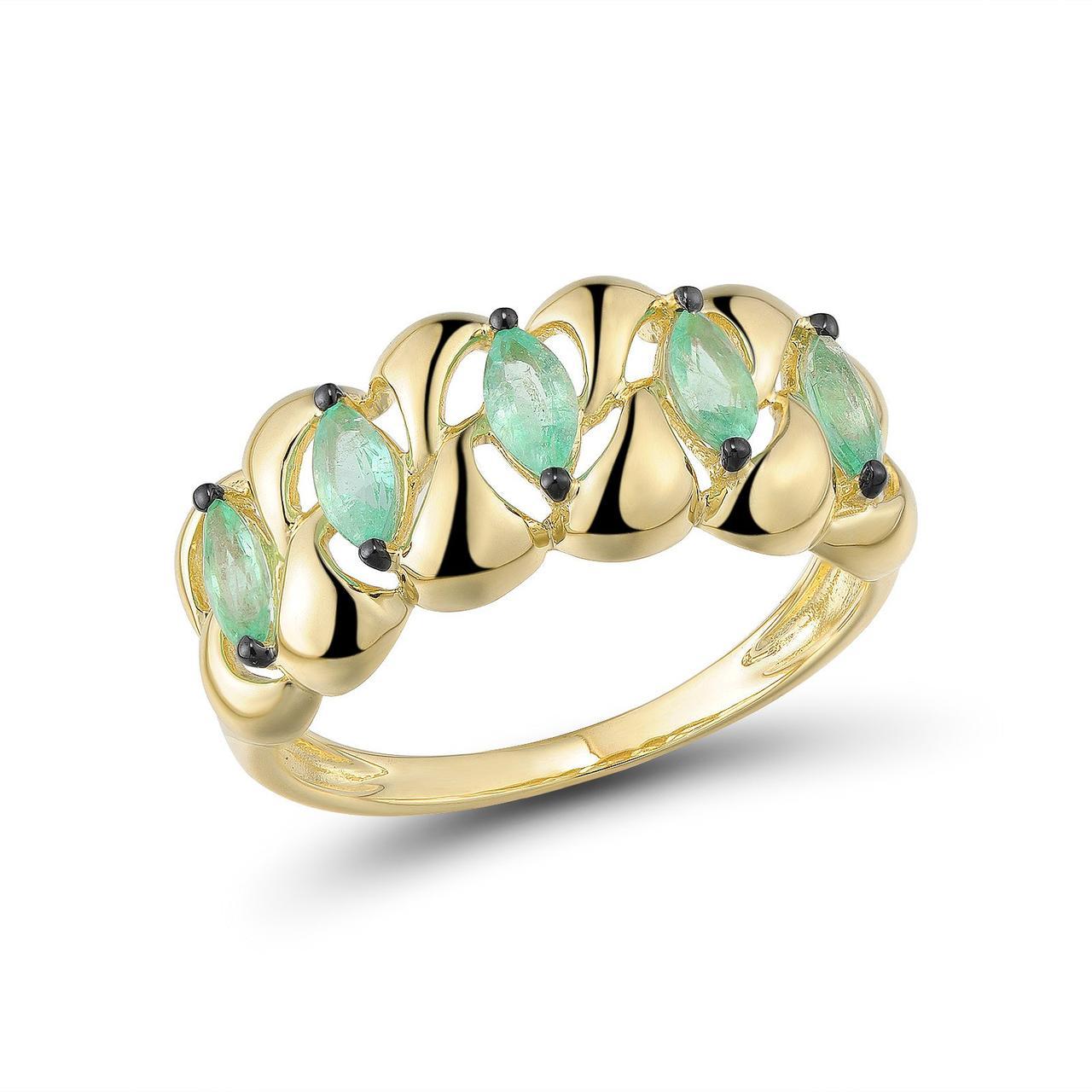 Золотое кольцо с изумрудами, размер 16.5 (1624250)