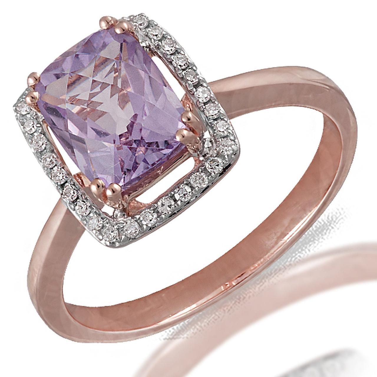 Золотое кольцо с аметистом и бриллиантами, размер 17 (056942)