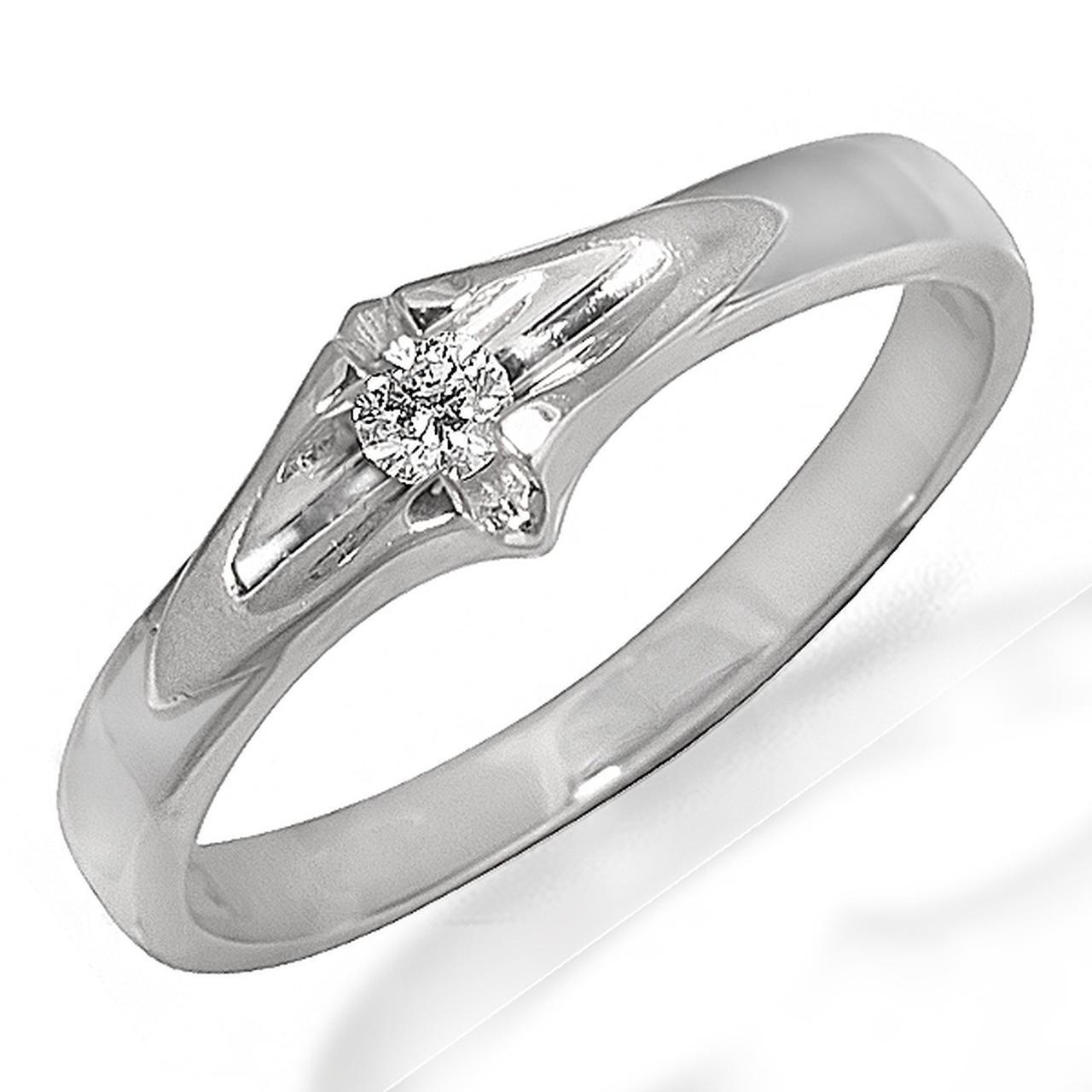 Золотое кольцо с бриллиантом, размер 17.5 (048193)