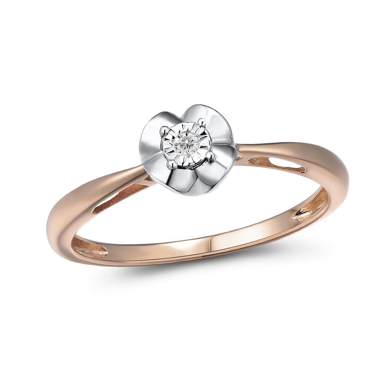 Золотое кольцо с бриллиантом, размер 17.5 (1549463)