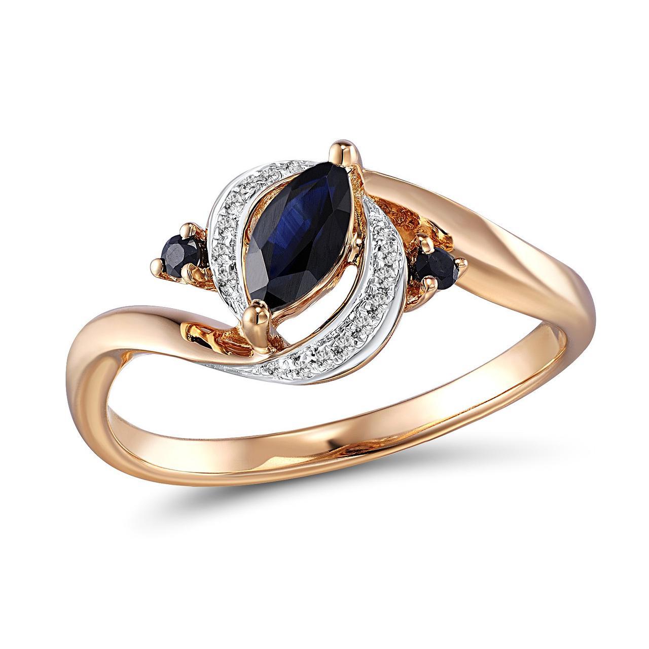 Золотое кольцо с бриллиантами и сапфирами, размер 16 (258988)
