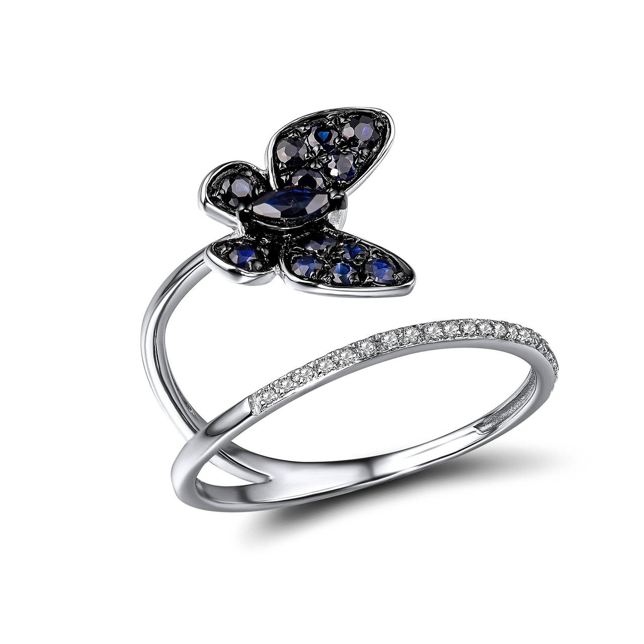 Золотое кольцо с бриллиантами и сапфирами, размер 17 (1719053)