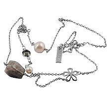 Колье из серебра с лабрадоритами и жемчугом (искусст.), размер 40 (042610)