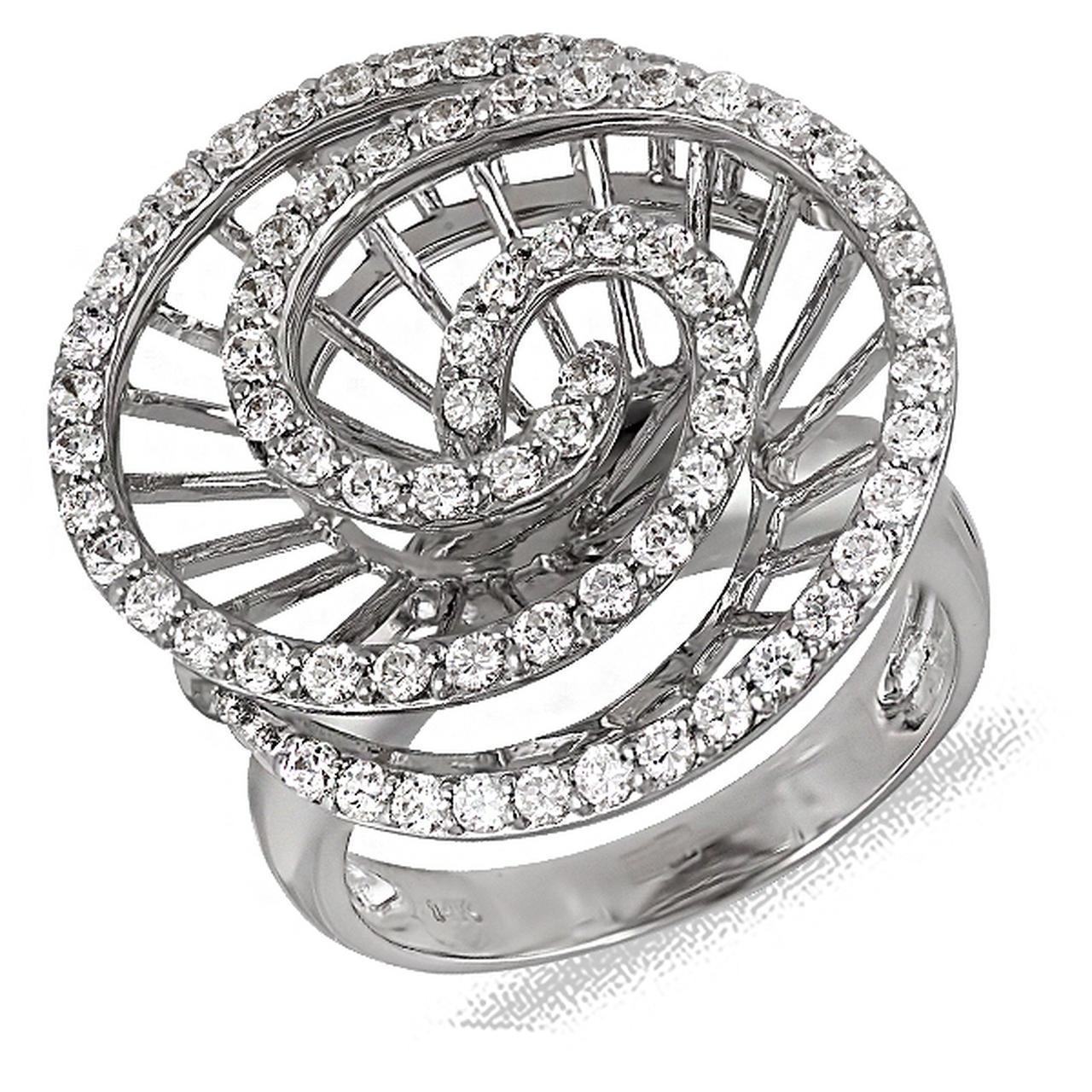 Золотое кольцо с куб. циркониями, размер 17.5 (012199)