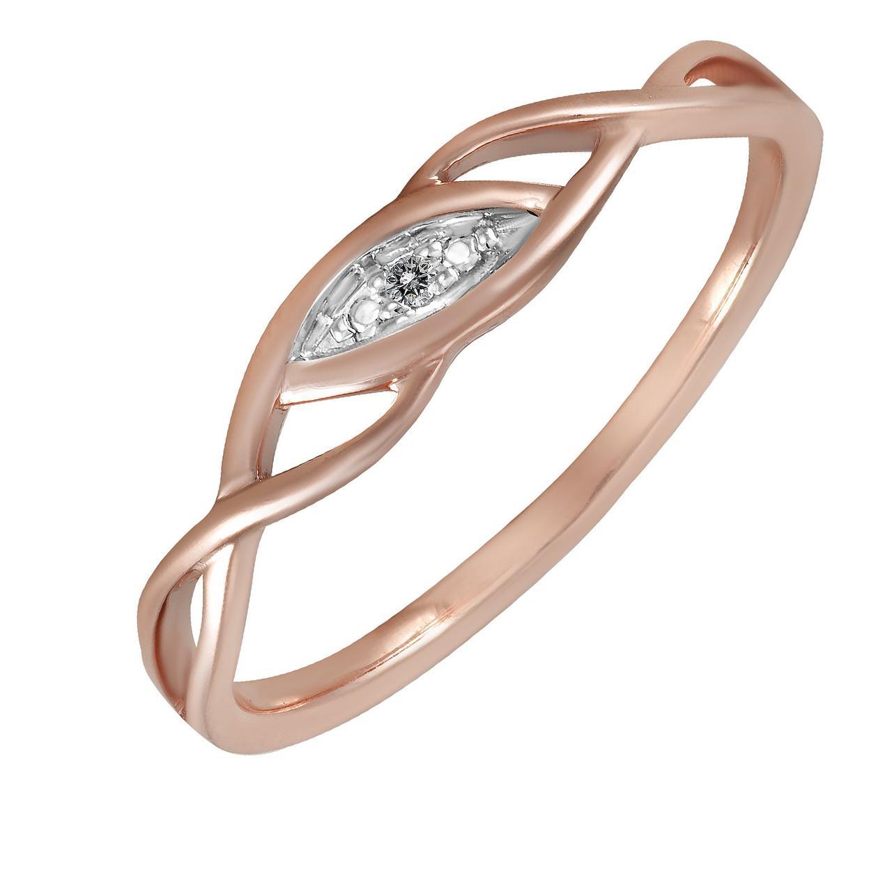 Золотое кольцо с бриллиантом, размер 16.5 (290082)
