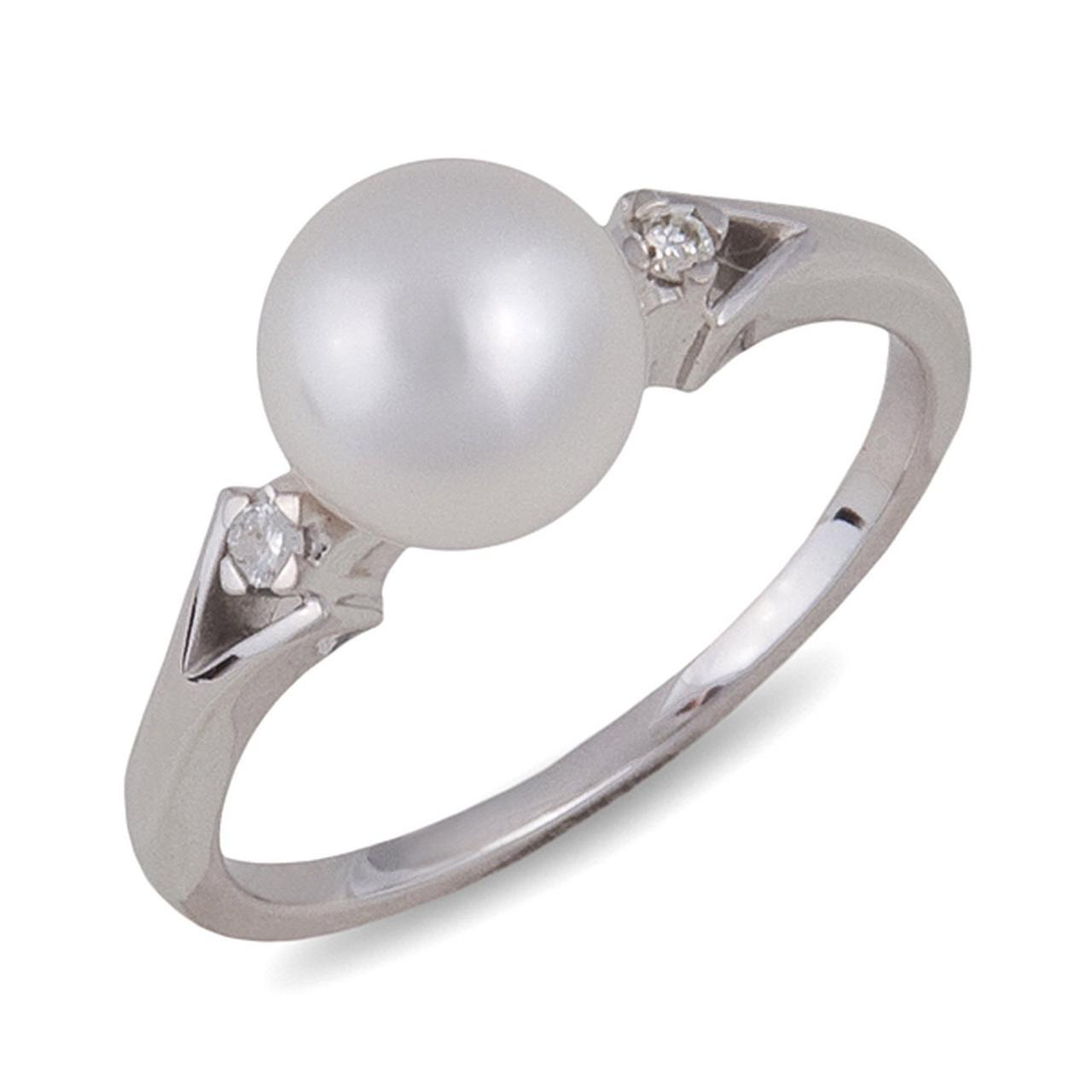 Золотое кольцо с бриллиантами и жемчугом, размер 17 (001293)