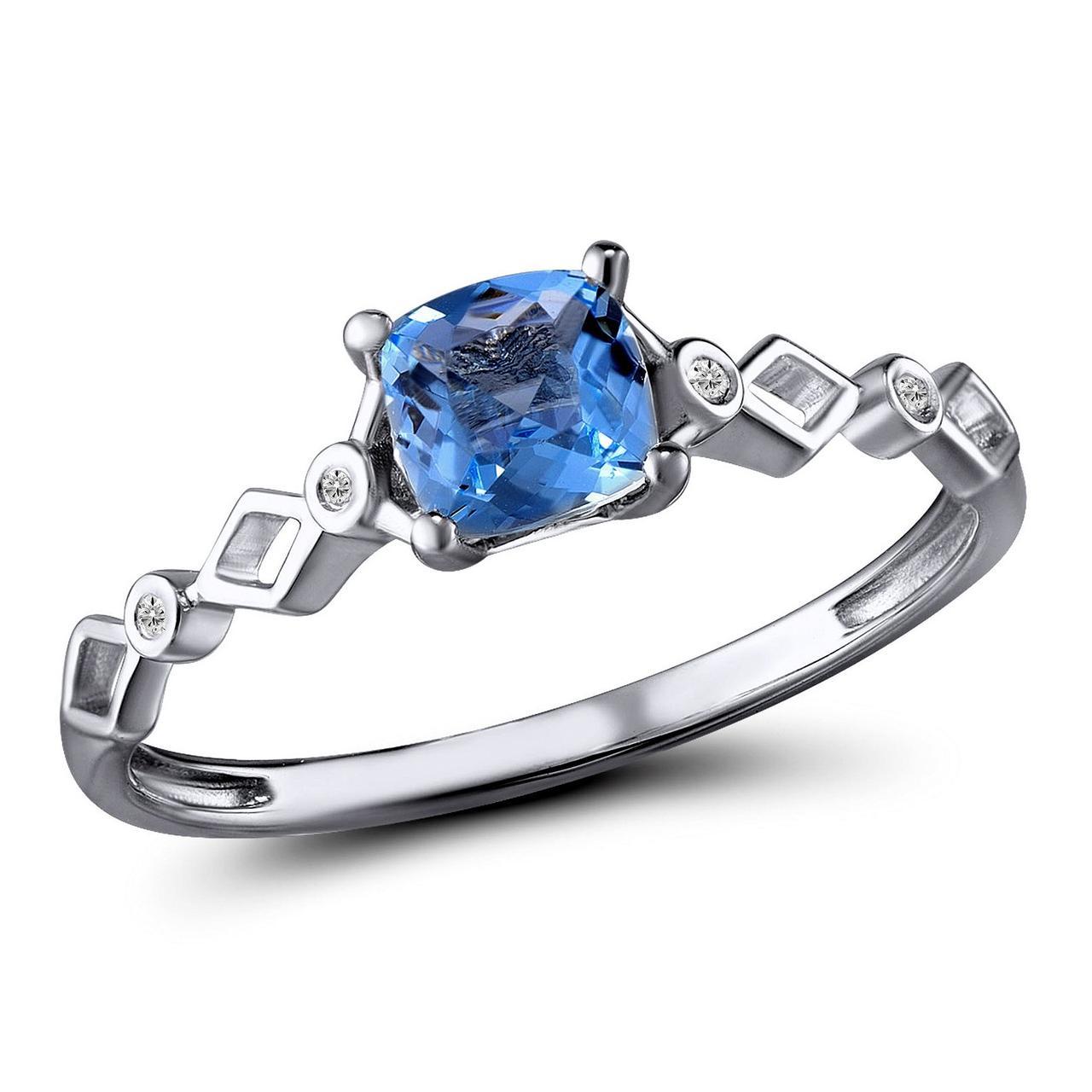 Золотое кольцо с бриллиантами и топазом, размер 16 (1603717)