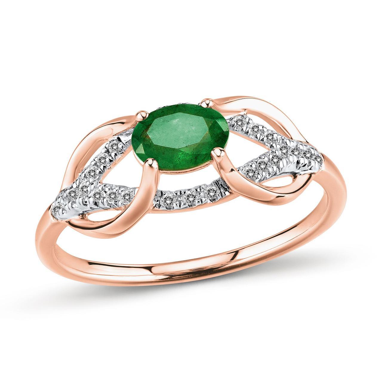 Золотое кольцо с бриллиантами и изумрудом, размер 16 (447645)