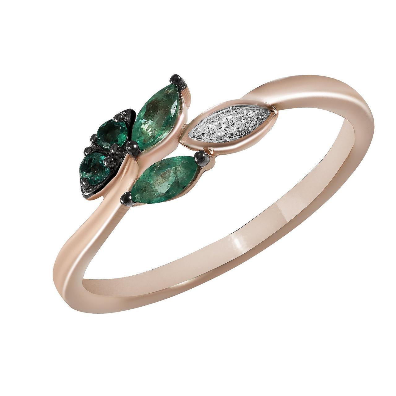 Золотое кольцо с бриллиантами и изумрудами, размер 15.5 (825119)