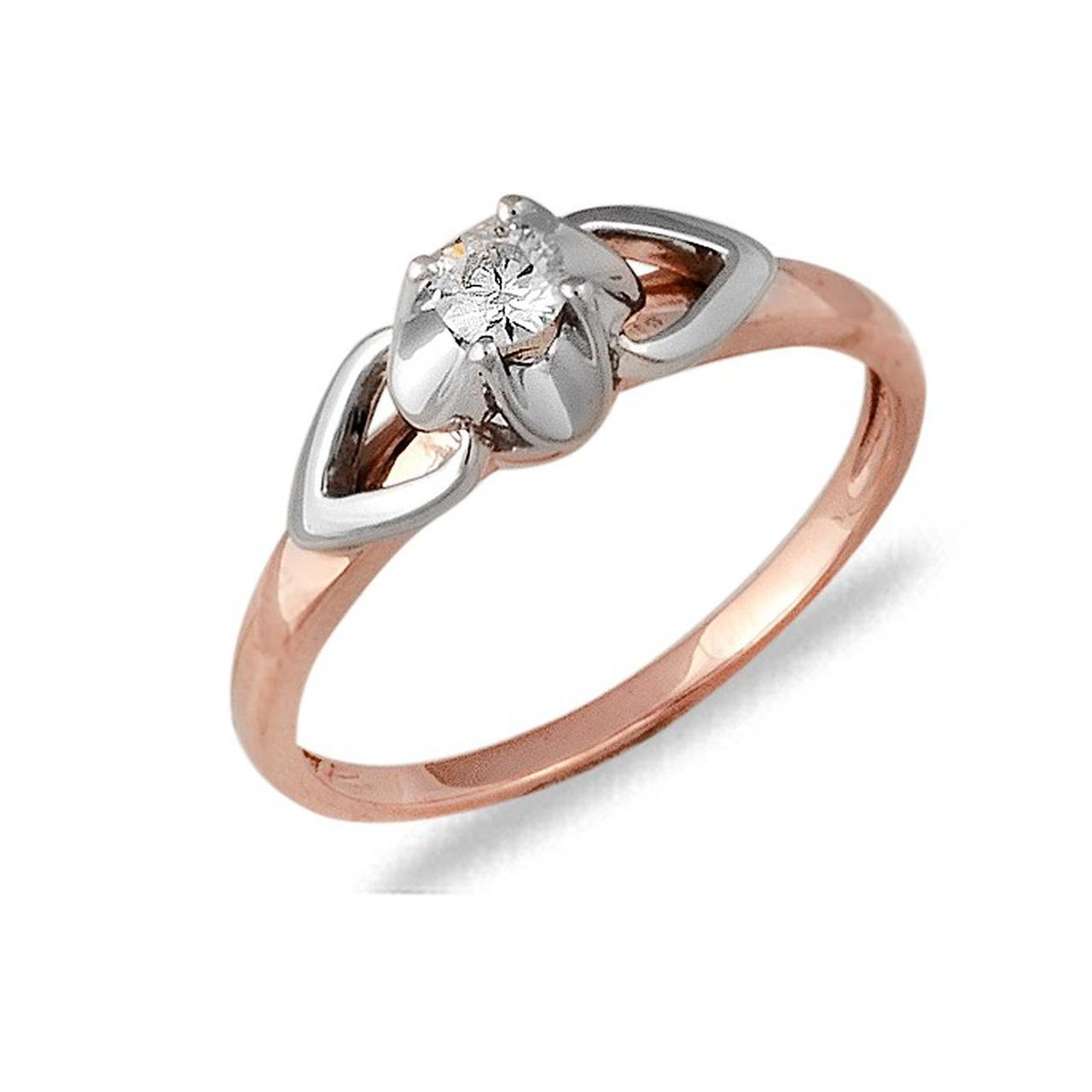 Золотое кольцо с бриллиантом, размер 18 (033103)