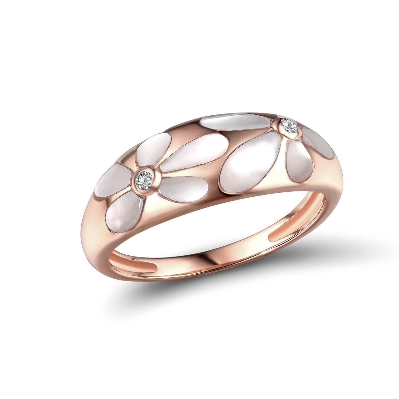 Золотое кольцо с бриллиантами и перламутром, размер 15.5 (1719594)