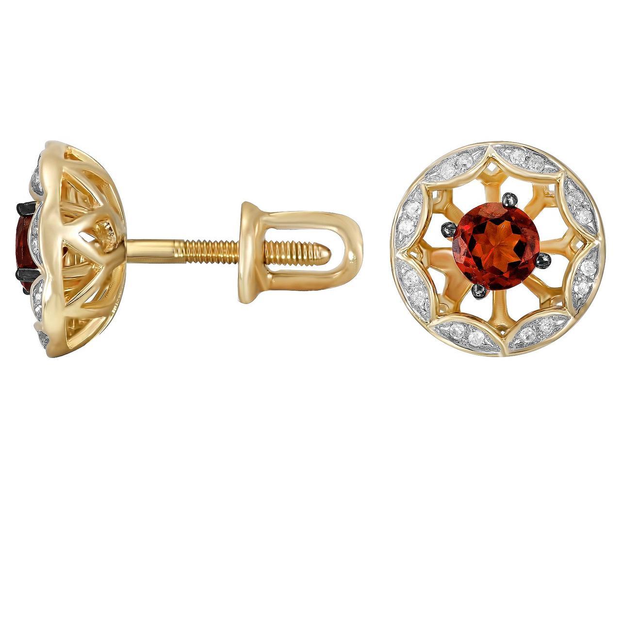 Серьги из красного золота с бриллиантами и гранатами (210380)