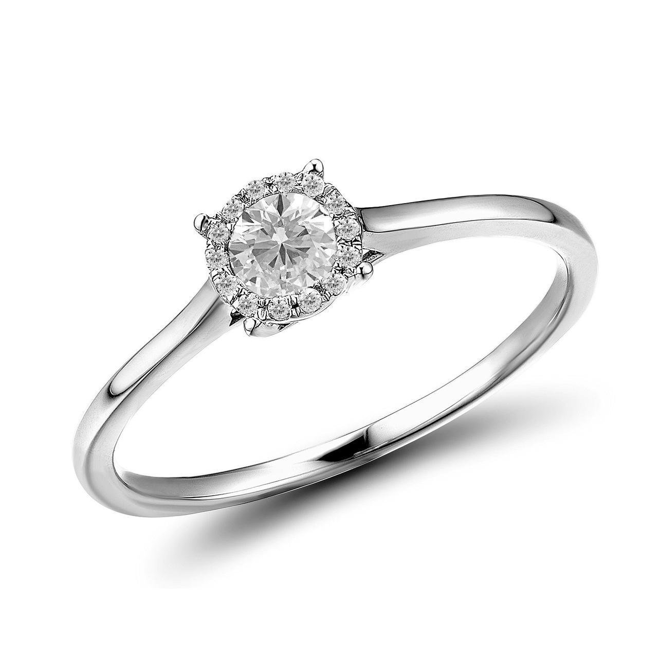 Золотое кольцо с бриллиантами, размер 15 (1550678)