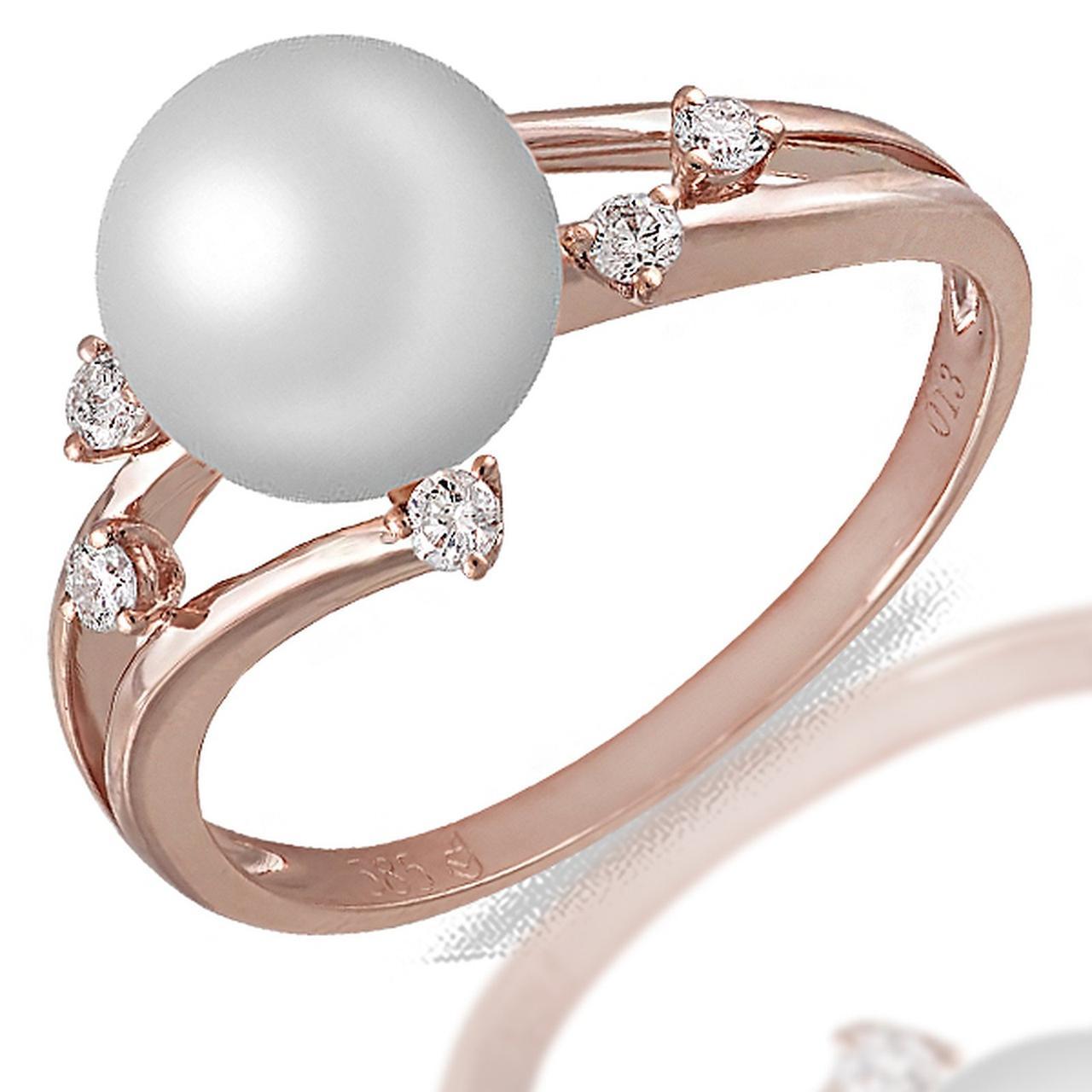 Золотое кольцо с бриллиантами и жемчугом (пресноводным), размер 16.5 (057505)