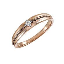 Золотое кольцо с бриллиантом, размер 17.5 (1663026)