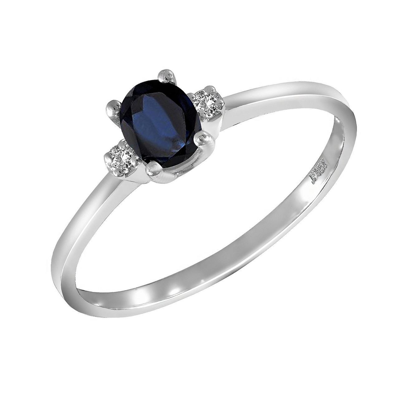 Золотое кольцо с бриллиантами и сапфиром, размер 16.5 (1682173)