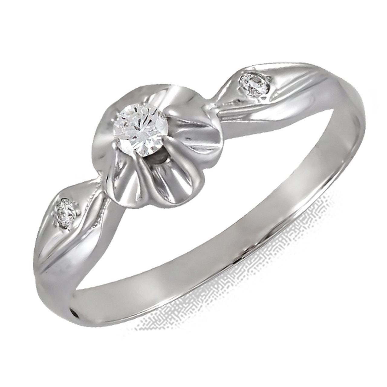 Золотое кольцо с бриллиантами, размер 17 (126819)